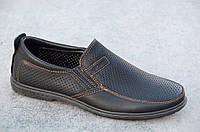 Спортивные туфли, мокасины мужские летние черные стильные (Код: 553а)