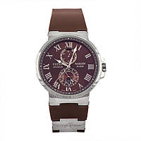 Стильные наручные часы Ulysse Nardin Marine Chronometer Brown Silver