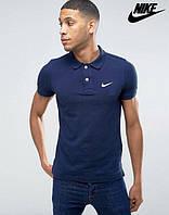 Мужская модная Футболка Поло Тенниска Nike Найк темно-синяя с принтом