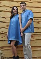 Вышитая мужская рубашка со стойкой и коротким рукавом и женское расклешенное платье с американской проймой.