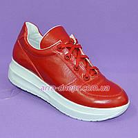 Женские туфли из натуральной кожи красного цвета, на утолщенной подошве белого цвета, на шнуровке