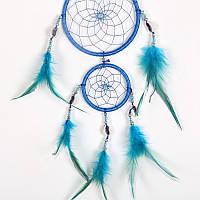 Оберег ловец снов синий два круга.(мод.2)