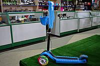 Самокат трехколесный с ручным тормозом синий, фото 1