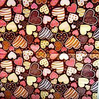 """Салфетка декупажная 33x33см 23 """"Сердечки на коричневом фоне"""" (товар при заказе от 200 грн)"""