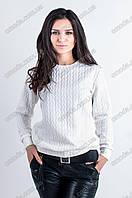 Женская однотонная кофточка из трикотажа Косичка белый