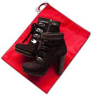 Мешок-пыльник для обуви с затяжкой, красный