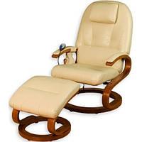 Кресло бежевое для отдыха с массажем + пуф + обогрев + Бесплатная доставка