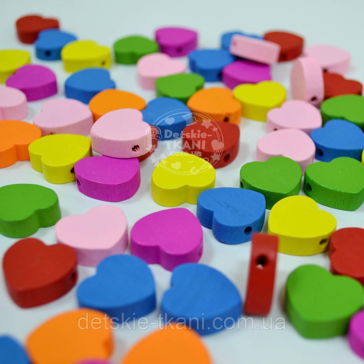 """Набор деревянного декора для рукоделия """"Цветные сердечки"""" (10 шт)"""