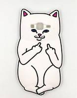 Объемный 3D силиконовый чехол для Samsung i9082 i9080 i9060 i9062 Galaxy Grand Duos Белый кот