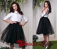 Фатиновая юбка-пачка. Цвет черный