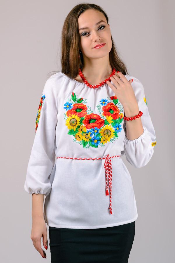 Вышиванка женская белая хлопок рукав 3/4 (Украина)