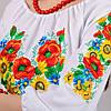 Вышиванка женская белая хлопок рукав 3/4 (Украина), фото 4