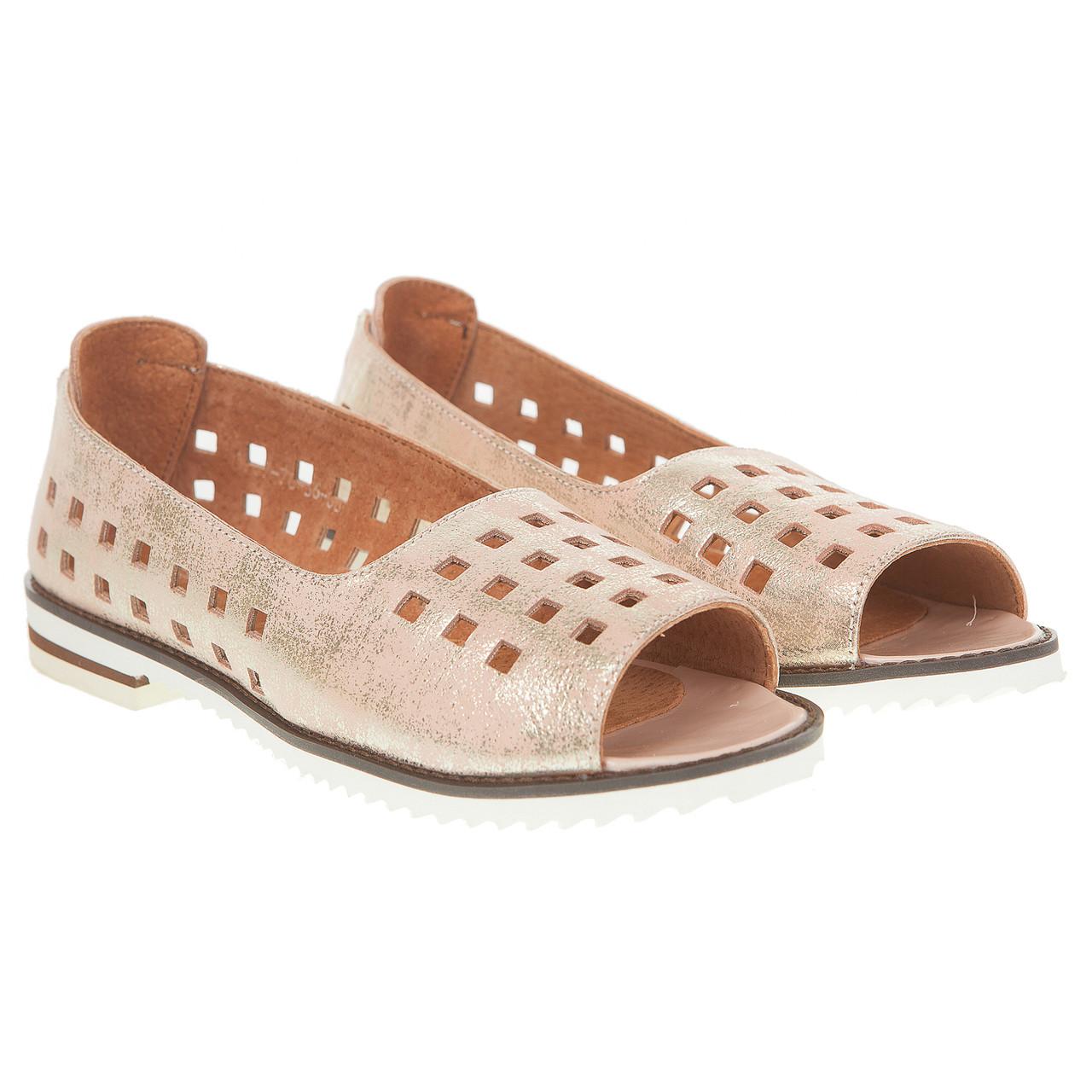 b2f97dc0 Балетки женские Vikttorio (розовый цвет с золотистым блеском, открытый  носок, стильная перфорация)