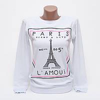 Свитшот женский хлопок Paris подросток p.42-44 цвет белый N53-1