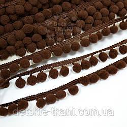 Тесьма с помпонами 10 мм коричневого цвета (Польша)