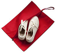 Объемная сумка-пыльник для обуви на молнии, красный