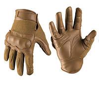 Тактические перчатки Leder/Aramid Kevlar, Coyote. Mil-tec, Германия.