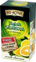 Зеленый класический чай с добавлением куочков лимона ( 20 пакетиков ) Big Active z Cytryna.