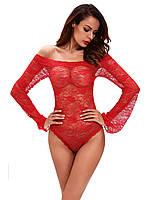 Женское гипюровое красное боди с рукавами ( с застежкой)