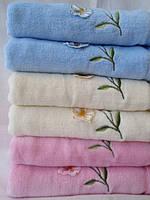Полотенца махровые для лица оптом с цветком оптом
