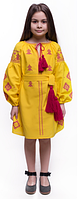 Вышиванка детская для девочки, ткань домотканое полотно