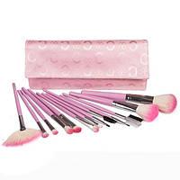 Набор натуральных кистей для макияжа 13 шт - Make Up Me B-13 Розовый - B13-PINK