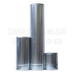 Труба для дымохода утепленная 0,8мм ф130/200 нерж/оцинк 1м (сендвич) AISI 304