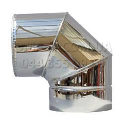 Коліно для димоходу утеплене 0,8 мм ф130/200 нерж/нерж 90гр (сендвіч) AISI 304