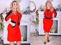 Женское красное платье до колен батал