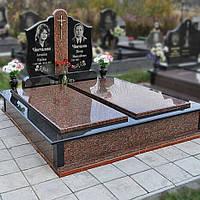 """Гранитный двойной памятник с надгробной плитой """"Родительский"""""""