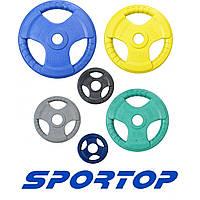Диск обрезиненный для штанги 1.25, 2.5, 5, 10, 15, 20, 25 кг Sportop (D 51 мм)