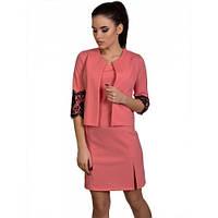 Костюм двойка- платье+пиджак -коралловый