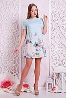 Женское платье в цветах, мята, р.S,M,L
