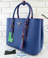 Женская сумка в стиле PRADA CUIR DOUBLE BAG ROYAL BLUE (6925), фото 1