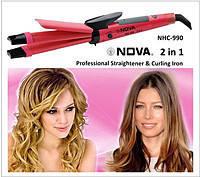 Плойка-щипцы для волос Nova 2 в 1 NHC-1818, утюжок для выпрямления и завивки волос