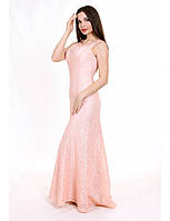 Красивое кружевное  платье в пол с жемчугом