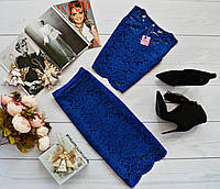 Женский костюм: топ без рукавов + юбка с набивного гипюра синий