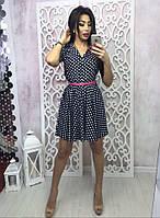 Летнее короткое платье-рубашка в горошек