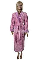 Теплый женский халат из пушистой махровой ткани Nusa (сирень) №8380