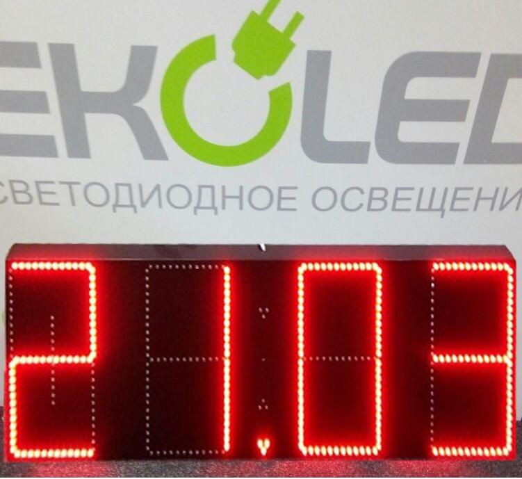 Светодиодные часы (дата, время, температура) 420х180