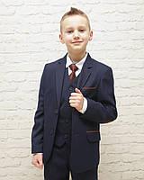 Школьная форма для мальчиков,темно-синяя однотонная 116-140