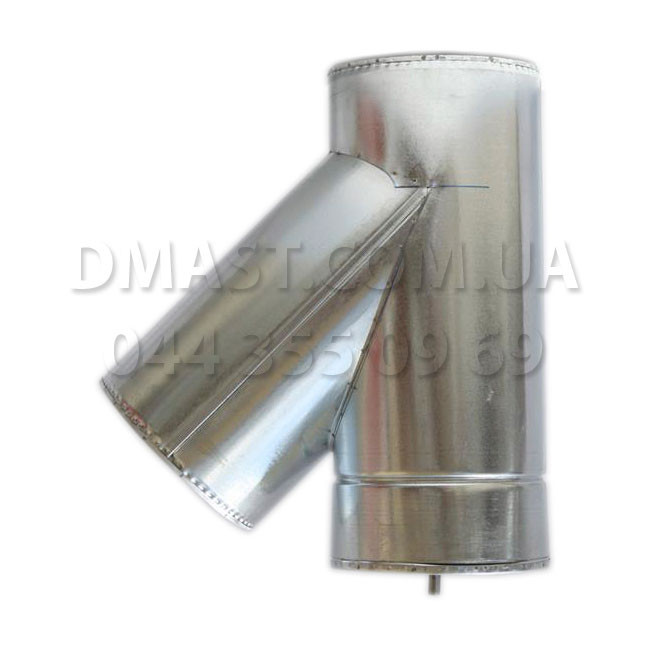 Трійник для димоходу утеплений 0,8 мм ф110/180 нерж/оцинк 45гр (сендвіч) AISI 304