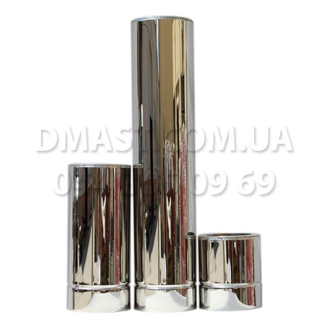 Труба для дымохода утепленная 0,8мм ф110/180 нерж/нерж 1м (сендвич) AISI 304