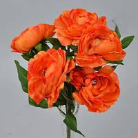 Букет  оранжевых Камелий 35см Цветы искусственные