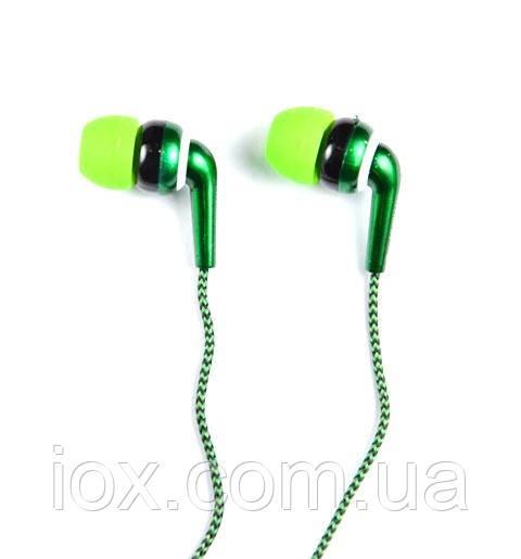 Зеленые вставные наушники вкладыши Awmax AX-470