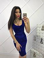 Короткое синее платье майка
