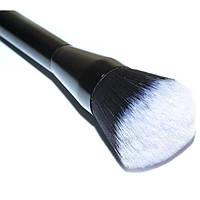 Синтетическая кисть для пудры на металлической черной ручке. Округлая. К48 - K48