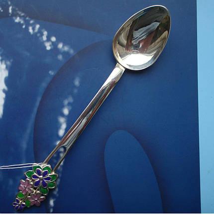 Серебряная подарочная чайная ложка с цветами, фото 2