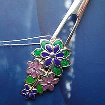 Срібна подарункова чайна ложка з квітами, фото 2