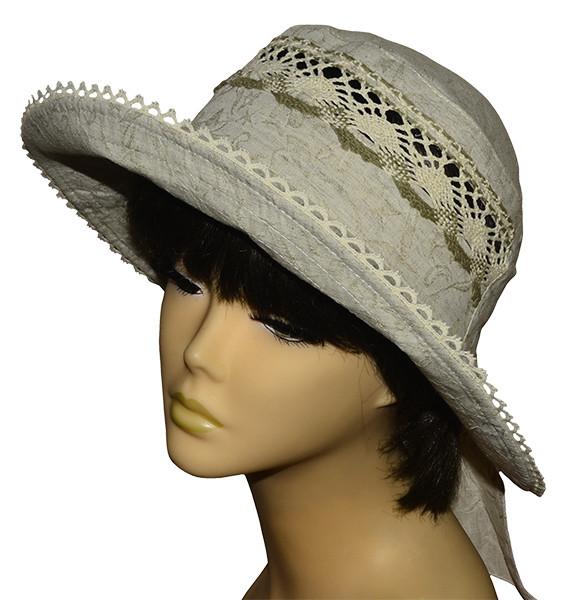 Шляпа женская Бахрама лен в цветах темный